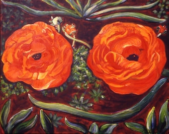 Ranunculus Smiles - Giclee Print On Gallery Wrap Canvas