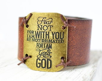 Fear not for i am with you - leather cuff - bracelet - cuff - leather bracelet - upcycled cuff - belt cuff