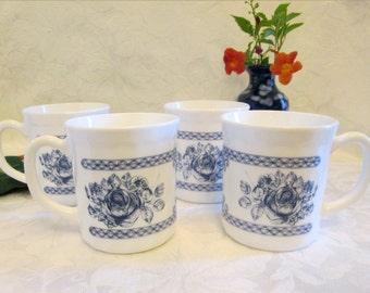 Set of Four French Arcopal Milk Glass Coffee Mugs , Arcopal Blue Rose Honorine Pattern Mugs - Made in France