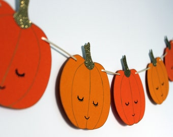 Garland Sweetie Pumpkin banner, pumpkins Halloween decoration.