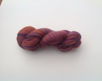 Knitting yarn , wool mohair blend, hand dyed  purple and rust, felting wool, single ply,