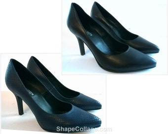 8-heel leather pumps décolleté blue or black colors