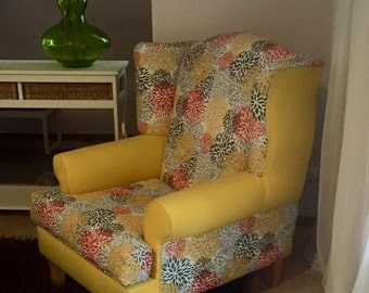 SOLD-Upholstered wingback armchair accent chair living room furniture