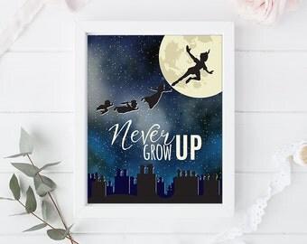 Peter Pan - Never Grow UP- Art Print Poster - 8 x 10 inch - Newerland