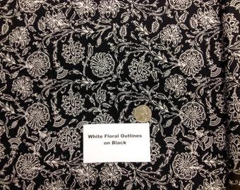 White Floral Outline on Black - 2 Yards