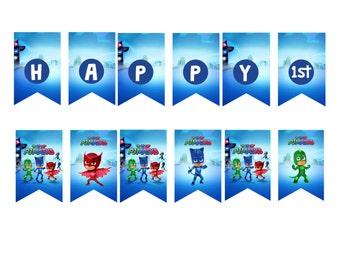 PJ Masks Birthday Personalized Banner DIGITAL FILE