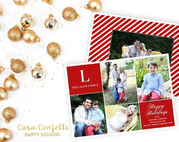 Monogram Christmas Photo Card, Monogram Holiday Photo Card, Red Christmas Photo Card, Block Photo Christmas Card, Printable Card