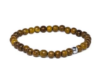 Robles wood bracelet, Men's exotic wood beaded bracelet, Wooden stretch bracelet, Wood neads bracelet