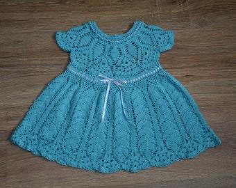 Baby Dress, Baby Girl Dress, Newborn Dress, Baby Crochet Dress, Girl Dress, Turquoise Girl Dress, Light Blue Girl Dress