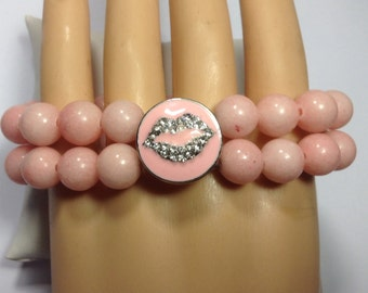 PINK BEADED SNAP Bracelet..snap included. Mfits 18-20mm snaps