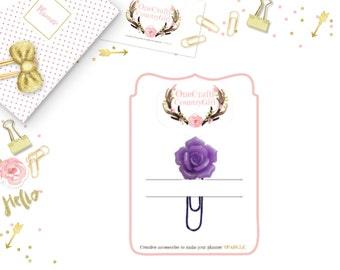 Purple Glitter Rose Planner Paperclip, Onecraftycountrygirl, Planner Paperclip, Accessories