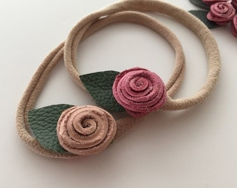 leather rosette headband