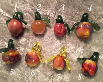 Glass peach pendant