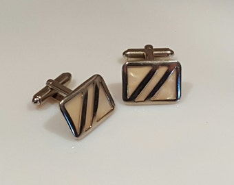Vintage goldtone cuff links with mother-of-pearl insets