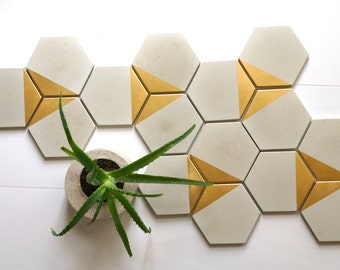 Concrete Hexagon Tiles. Cement Tile. Set of 10. Concrete Coasters. Cement Coasters.