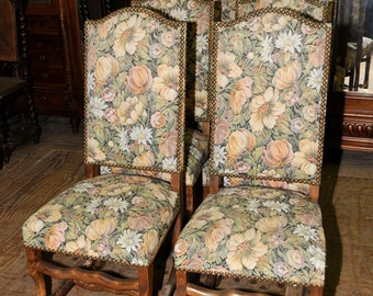Antique  French Dining Chairs Upholstered Lovely Floral Pattern #5561