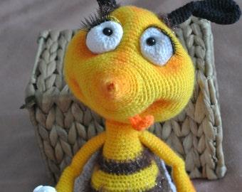 Bee, wasp yellow. Toy handmade. Amigurumi.
