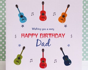 HANDMADE Personalised Card - Guitars & Music - Birthday Card for Dad Daddy Son Brother Grandad Nephew Uncle Male Friend Music Lover