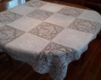 Vintage White Lace Cutwork Embroidered Square Tablecloth, table topper, shabby chic, cottage chic, victorian decor, romantic decor, white la