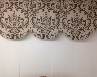 "Scallop, shaped valance, traditions damask,  kelp taupe, natural beige 42"" x 16"""