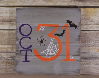 Wood Halloween Sign - Halloween Decorations -  Halloween Party Decor - Halloween Wall Decor - Rustic Wood Sign for Halloween