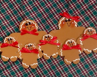 Gingerbread Couple with 5 kids personalized Handpainted Ornament!!