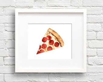 Pizza Watercolor - Pizza Slice Art Print - Wall Decor - Painting