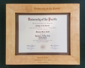 Graduation Gift - Personalized Wood Diploma Frame