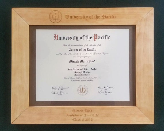 """Personalized Wood 8.5""""x11"""" Diploma Frame - Graduation Gift - Customized"""
