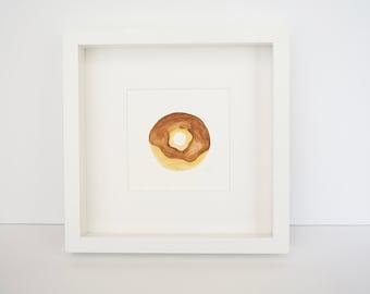 Small Chocolate Doughnut (original watercolor painting)