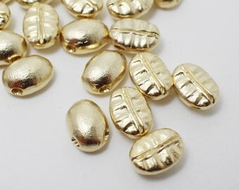 P0254/Anti-Tarnished Matte Gold Plating Over Brass/Coffee Bean Charm/7.5x10mm/2pcs
