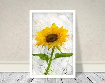 Watercolor Sunflower, Watercolor Flower, Sunflower Art, Yellow, Sunflower decor, Flower Art, Botanical Art, Living Room Art