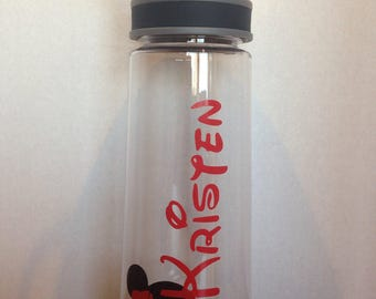 Water Bottle with Minnie Mouse and Name  - choose your colors!
