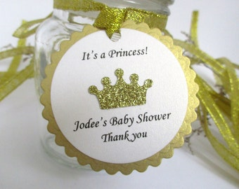 12 Gold Tags with Gold Glitter Crown. Baby Shower/ Birthday Favor Tag. Princess Birthday Gold Tiara Tag. Princess Thank you Tag PERSONALIZED