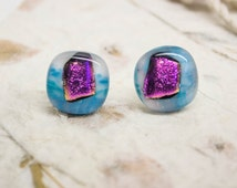 Fused Glass Dichroic Stud Earrings- Dark Pink Teal and White - Sparkle Magenta Round Posts