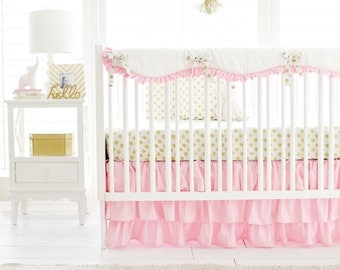 Pink and Gold Crib Bedding for Baby Girl | Pink Gold Polka Dot Baby Bedding Collection