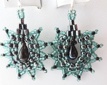 SALE - Teal Beadwork Earrings
