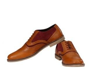 Mens Oxford Wingtip Tan/Burgundy Brogues | Jacksin Shoes