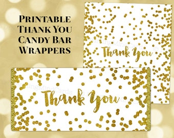 Printable Candy Bar Wrapper Labels Thank You Gold Confetti Birthday Wedding Baby Shower Bridal Shower Digital