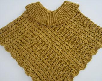 Crochet poncho, golden poncho, winter poncho, women poncho, crochet clothes, winter women clothes, Boho poncho, women xmas gift