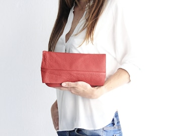 Clutch SOFY, very soft nappa leather bag, red
