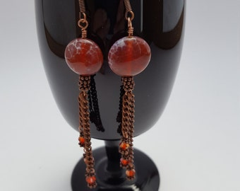 12016E Fire Agate, Crystal and Copper Earrings