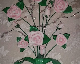 Metal rose bouquet, 3d wall hanging, wall art, vintage roses.