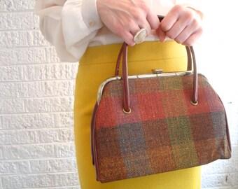 vintage 60s autumn tones wool plaid tapestry handbag purse