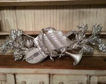 Burwood - Musical Instrument & Music Hanging Wall Decor Vintage - Silver Wall Decor - Silver Christmas Decor