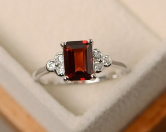 Garnet ring, January birthstone ring, emerald cut, sterling silver, natural garnet
