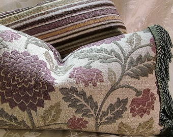Marsala and Olive Chair/Lumbar Pillow with Olive Fringe-Down and Feather Insert - Decorative Pillow -Designer Pillow