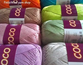 Mercerized cotton yarn COCO Vita Cotton Yarn knitting Crochet thread Summer colorful cotton Сhoice of color Many Colors