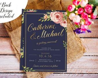 Navy and Gold Wedding Invite, DIY Wedding Invitation Set, Luxury Invitation, Printable Wedding,invitation template,Wedding Invitation Suites