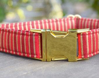 Jacob. Dog Collar, Stripes, Red, Gold Metallic, Christmas, Gold Hardware, Metal Hardware